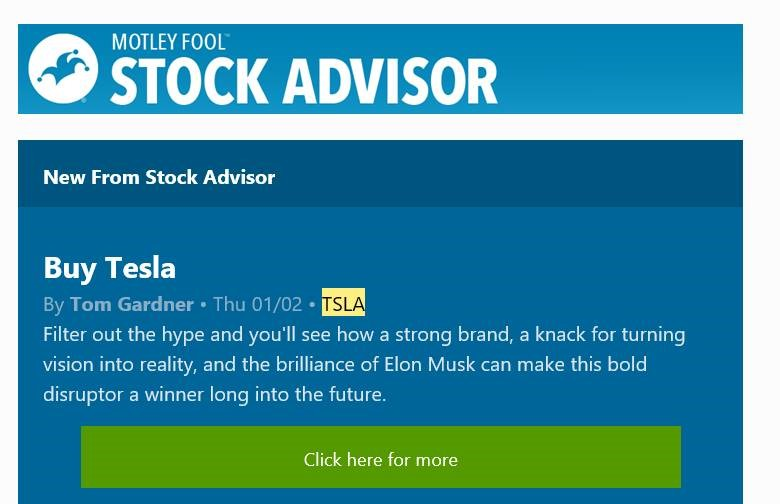 Best Stock Newsletter picks TSLA