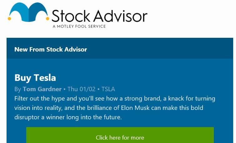 Motley Fool Stock Recommendation for TSLA