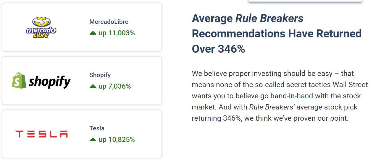rule breakers average stock is up 353%
